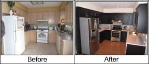 kitchen cabinets before and after paint spraying them with a paint sprayer