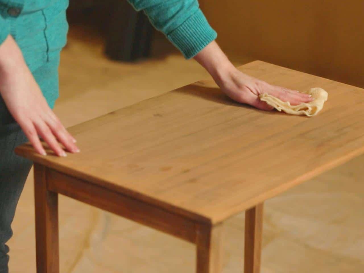 sanding a table