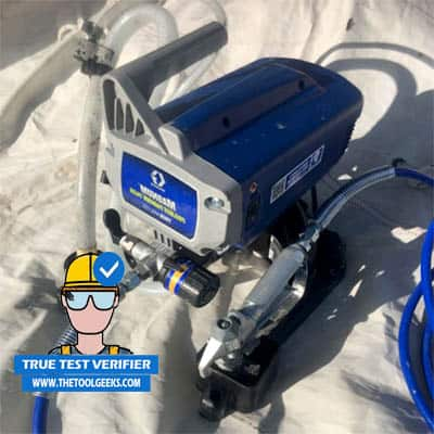 The Graco Magnum 257025 paint sprayer after I tested it.