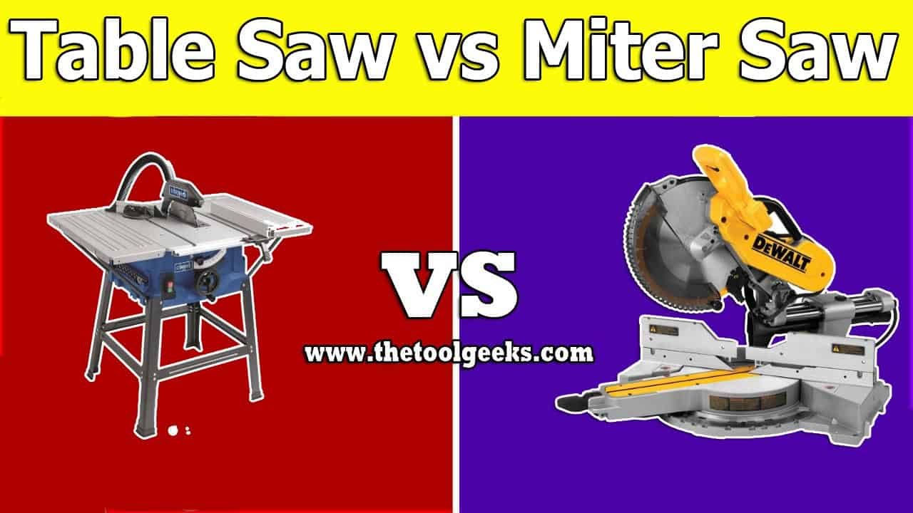 Miter saw and the table saw are both used to cut wood but still, they are different machines. The main difference between a table saw vs miter saw is the blade. The miter saw has its blade attached to its head and you can move the head down and up, meanwhile, the blade at the table saw is attached to the table.