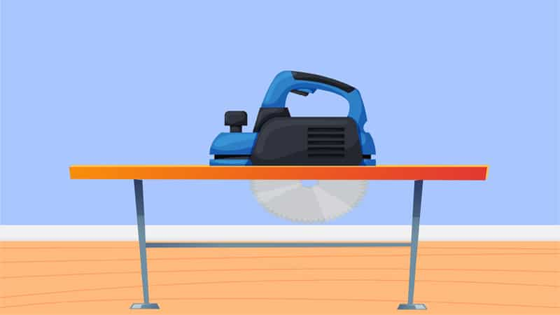 A plunge saw or a track saw is used to make straight and accurate cuts. It comes with a track that allows you to move the whole saw forward or backward.