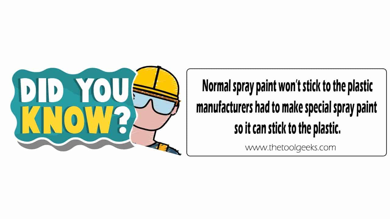 Did you know that normal spray paint isn't made for plastic because it doesn't stick? Manufactures had to make a special kind of spray paint so it can stick to the plastic.