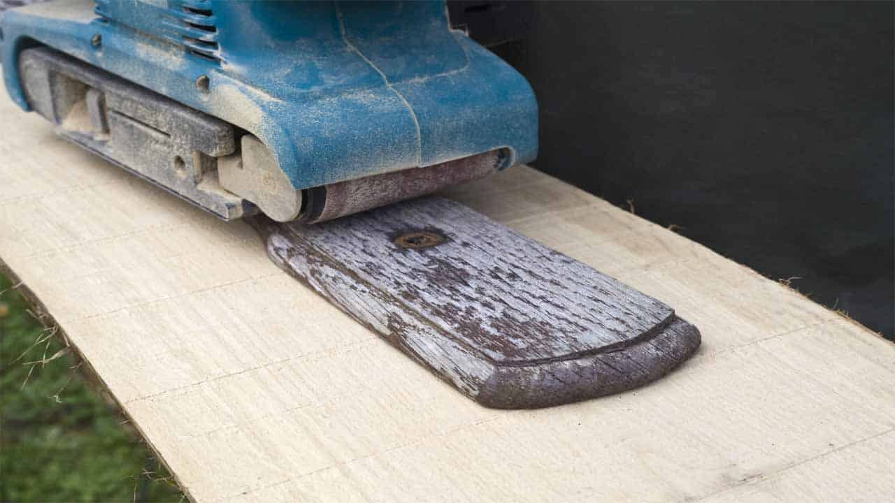 A belt sander is the type of sander that you use if you want to remove paint from any surface. The belt sander is a very aggressive and powerful sander that will remove any stain. This sander isn't used for finishing purposes, only for removal purposes.