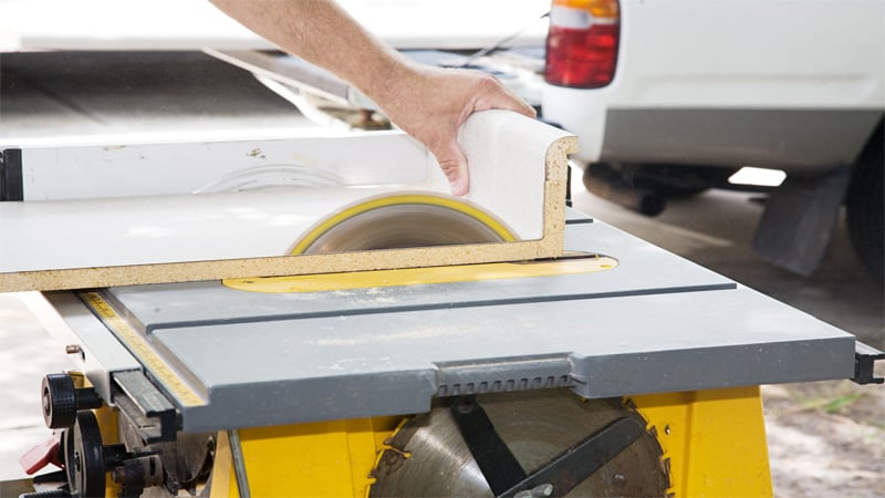 Although the table saw has a static blade, you still can use it to make curved cuts.