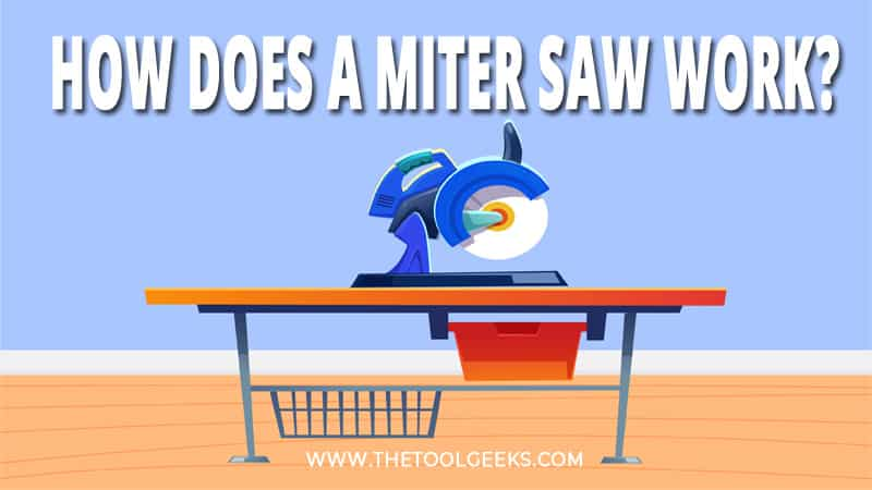 So, how does a miter saw work? The miter saw is placed on a table. You can move the blade up and down to make a cut.