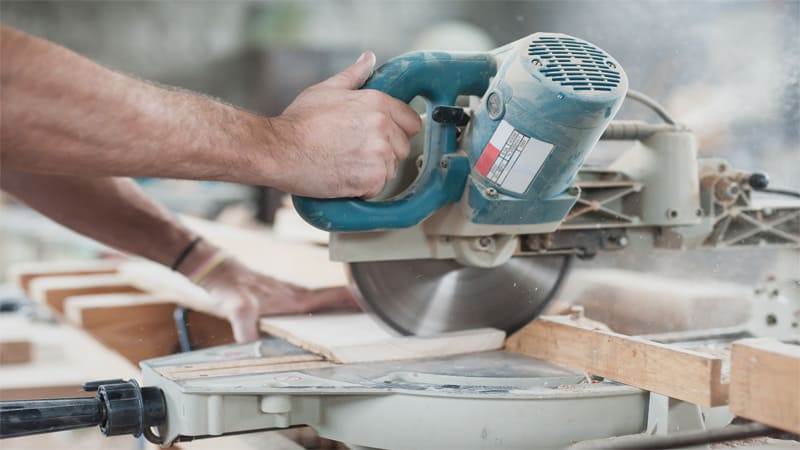 The miter saw can also be used for angled cuts.
